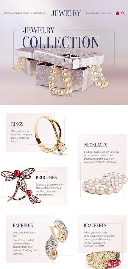 Jewelry Most Popular website inspirations at your coffee break? Browse for more OpenCart #templates! // Regular price: $72 // Sources available: .PSD, .PNG, .PHP, .TPL, .JS #Jewelry #Most Popular #OpenCart