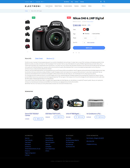 Electronics Most Popular website inspirations at your coffee break? Browse for more PrestaShop #templates! // Regular price: $139 // Sources available: .PSD, .PHP, .TPL #Electronics #Most Popular #PrestaShop