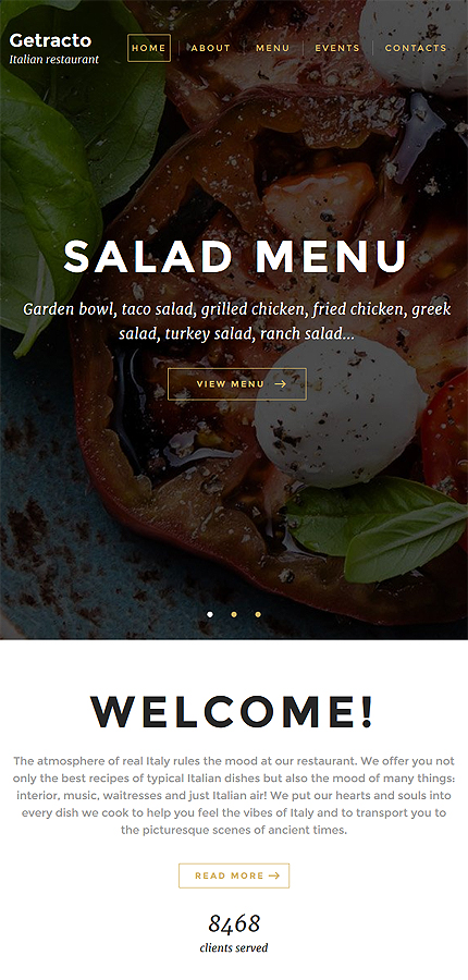 Cafe and Restaurant Most Popular website inspirations at your coffee break? Browse for more Bootstrap #templates! // Regular price: $75 // Sources available: .HTML,  .PSD #Cafe and Restaurant #Most Popular #Bootstrap
