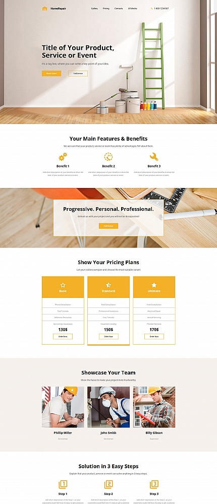 Home Repair Landing Page Template