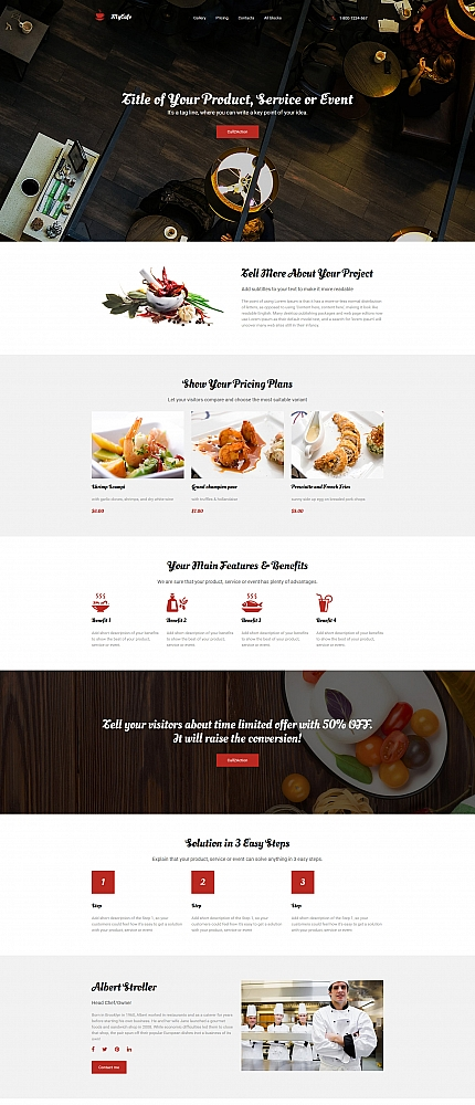 Cafe Landing Page Template