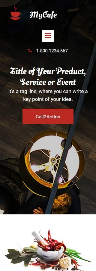 Plantilla para landing page - Categoría: Cafés y restaurantes - versión para Smart Phone (Responsive)