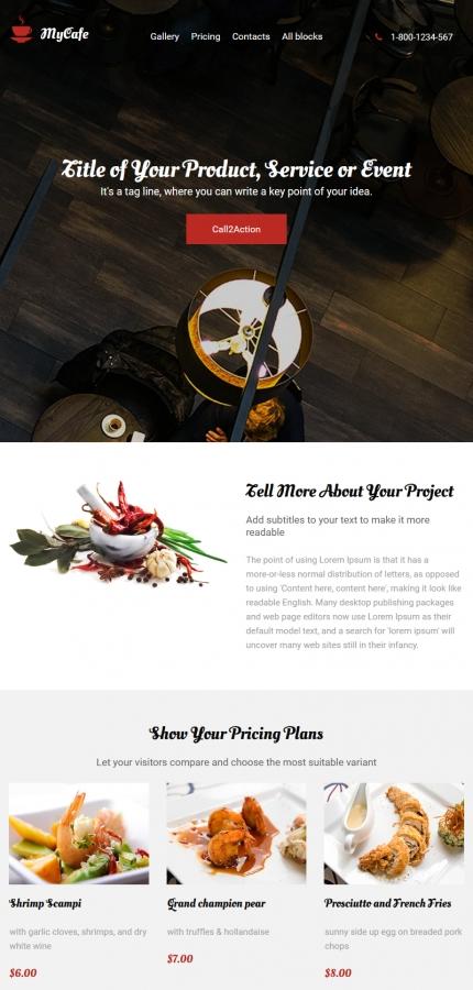 Plantilla para landing page - Categoría: Cafés y restaurantes - versión para Tablet (Responsive)