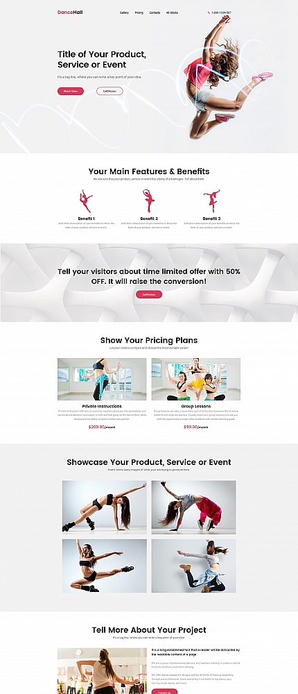 Dance School Landing Page Template
