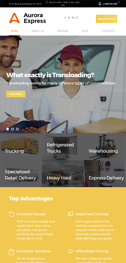 Transportation website inspirations at your coffee break? Browse for more WordPress #templates! // Regular price: $75 // Sources available:.PHP, This theme is widgetized #Transportation #WordPress
