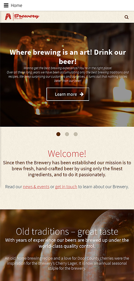 Brewery Templates website inspirations at your coffee break? Browse for more Joomla #templates! // Regular price: $75 // Sources available: .PSD, .PHP #Brewery Templates #Joomla