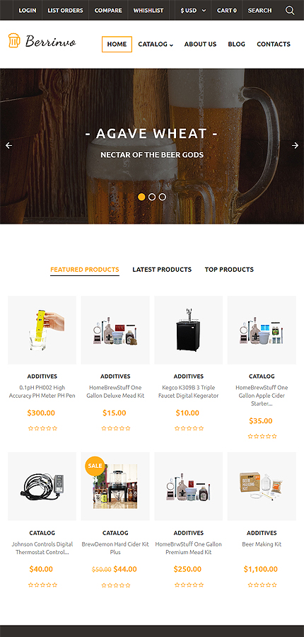 Brewery Templates website inspirations at your coffee break? Browse for more VirtueMart #templates! // Regular price: $139 // Sources available: .HTML,  .PSD, .PHP, .XML, .CSS, .JS #Brewery Templates #VirtueMart