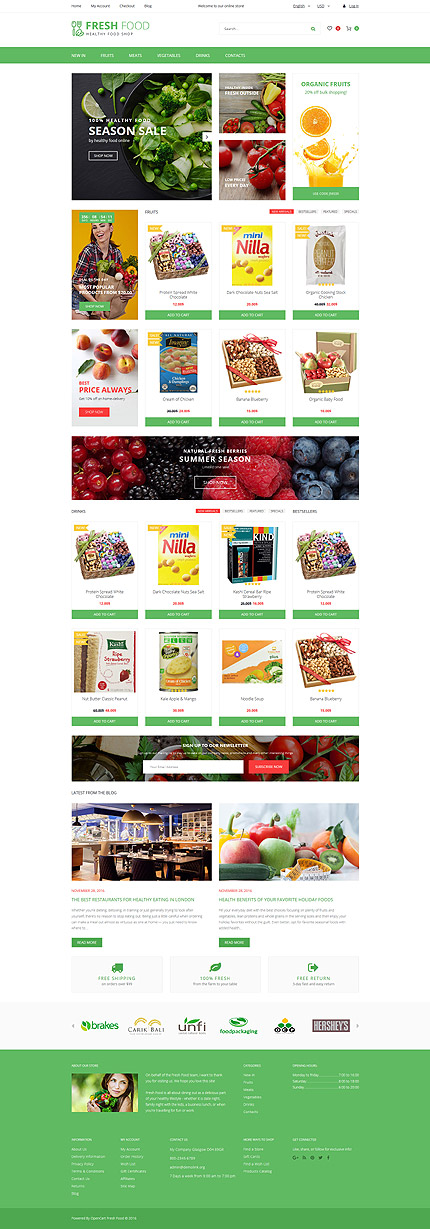 Food & Drink Most Popular website inspirations at your coffee break? Browse for more OpenCart #templates! // Regular price: $89 // Sources available: .PSD, .PNG, .PHP, .TPL, .JS #Food & Drink #Most Popular #OpenCart