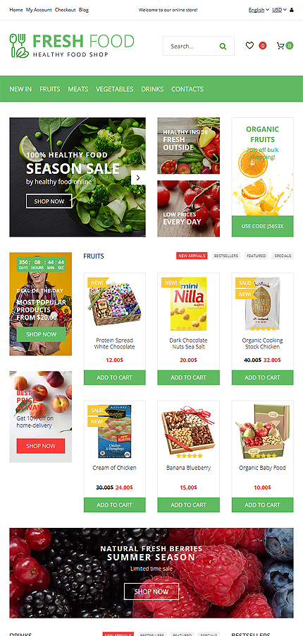 Food & Drink Most Popular website inspirations at your coffee break? Browse for more OpenCart #templates! // Regular price: $64 // Sources available: .PSD, .PNG, .PHP, .TPL, .JS #Food & Drink #Most Popular #OpenCart