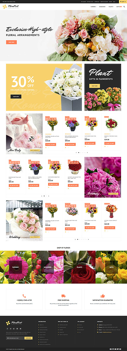 Flowers website inspirations at your coffee break? Browse for more Magento #templates! // Regular price: $179 // Sources available: .PSD, .XML, .PHTML, .CSS #Flowers #Magento