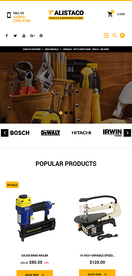 Tools & Equipment website inspirations at your coffee break? Browse for more PrestaShop #templates! // Regular price: $139 // Sources available: .PSD, .PHP, .TPL #Tools & Equipment #PrestaShop