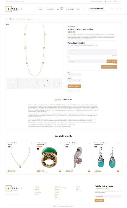 Jewelry website inspirations at your coffee break? Browse for more PrestaShop #templates! // Regular price: $139 // Sources available: .PSD, .PHP, .TPL #Jewelry #PrestaShop