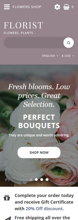 Flowers Most Popular website inspirations at your coffee break? Browse for more OpenCart #templates! // Regular price: $69 // Sources available: .PSD, .PNG, .PHP, .TPL, .JS #Flowers #Most Popular #OpenCart
