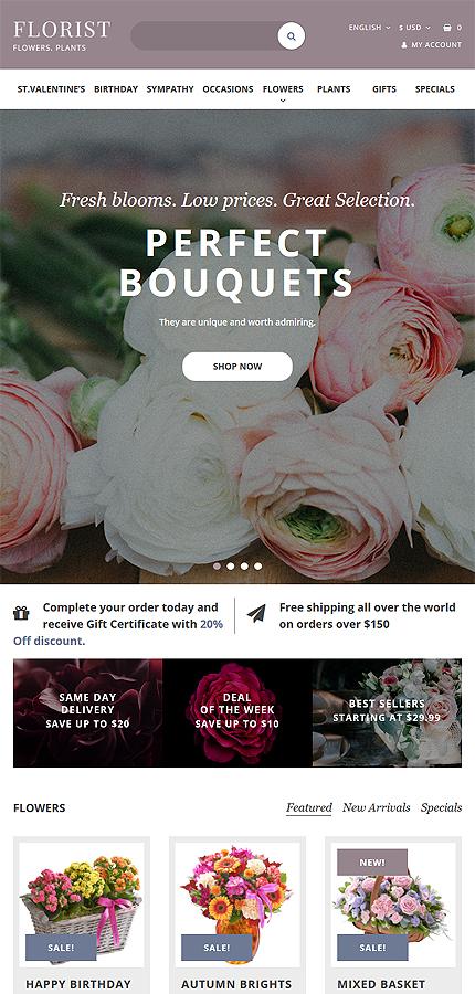 Plantilla para opencart - Categoría: Flores - versión para Tablet (Responsive)
