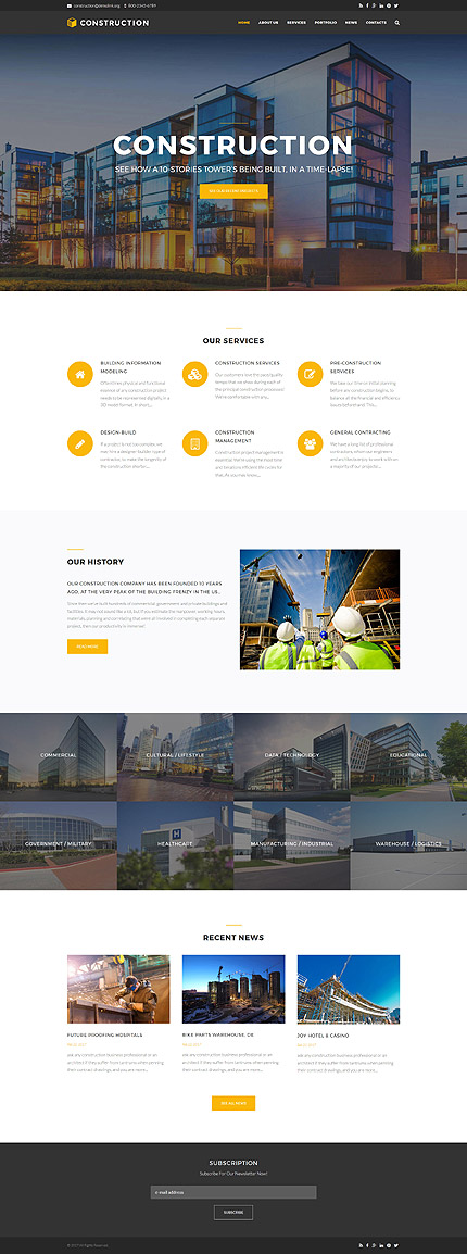 Architecture website inspirations at your coffee break? Browse for more Drupal #templates! // Regular price: $75 // Sources available: .PSD, .PHP #Architecture #Drupal