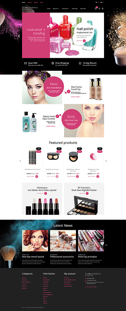 Beauty Most Popular website inspirations at your coffee break? Browse for more PrestaShop #templates! // Regular price: $139 // Sources available: .PSD, .PHP, .TPL #Beauty #Most Popular #PrestaShop