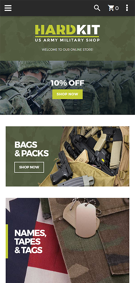 Military website inspirations at your coffee break? Browse for more Magento #templates! // Regular price: $179 // Sources available: .PSD, .XML, .PHTML, .CSS #Military #Magento