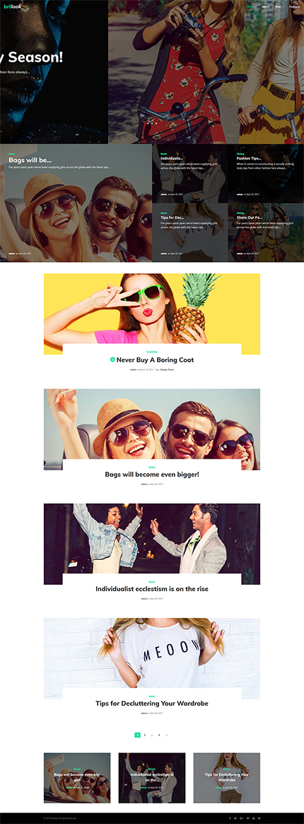Fashion website inspirations at your coffee break? Browse for more WordPress #templates! // Regular price: $54 // Sources available:.PHP, This theme is widgetized #Fashion #WordPress