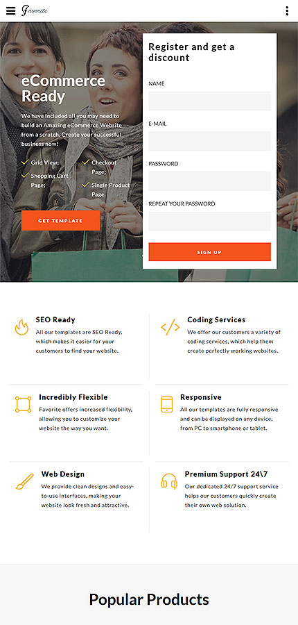 Plantilla para landing page - Categoría: Moda - versión para Tablet (Responsive)