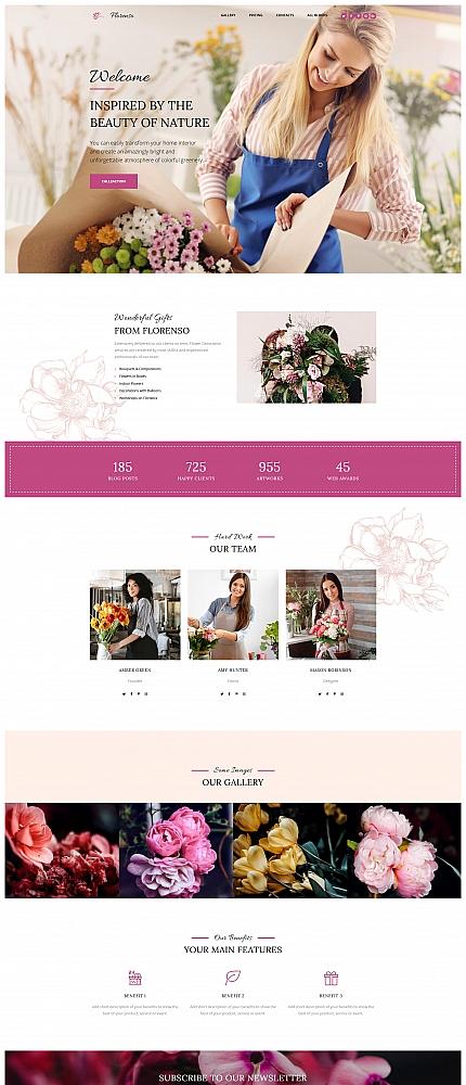 Plantilla para landing page - Categoría: Flores - versión para Desktop