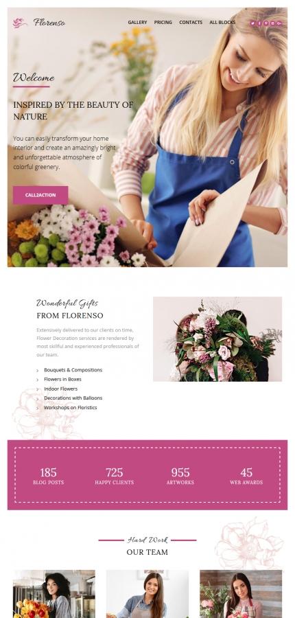 Plantilla para landing page - Categoría: Flores - versión para Tablet (Responsive)