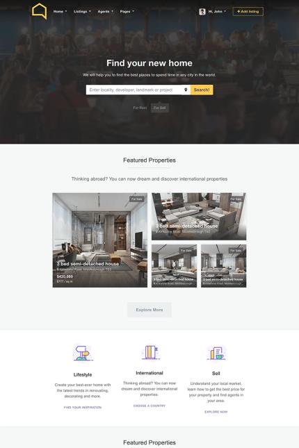 Real Estate website inspirations at your coffee break? Browse for more Vendors #templates! // Regular price: $72 // Sources available: #Real Estate #Vendors