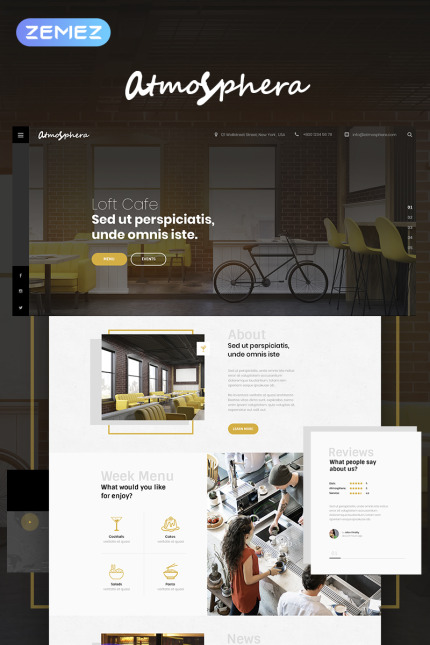 Cafe and Restaurant Most Popular website inspirations at your coffee break? Browse for more Vendors #templates! // Regular price: $75 // Sources available: #Cafe and Restaurant #Most Popular #Vendors