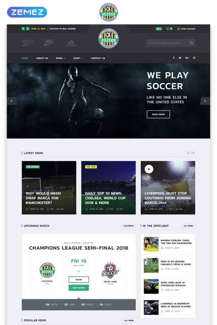 Sport website inspirations at your coffee break? Browse for more Vendors #templates! // Regular price: $72 // Sources available: #Sport #Vendors