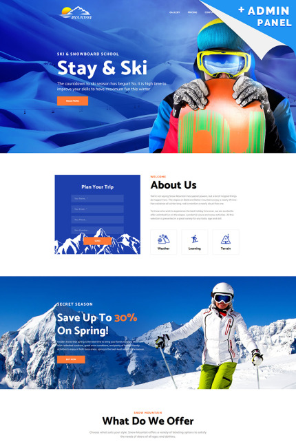 Snowboarding Landing Page Template