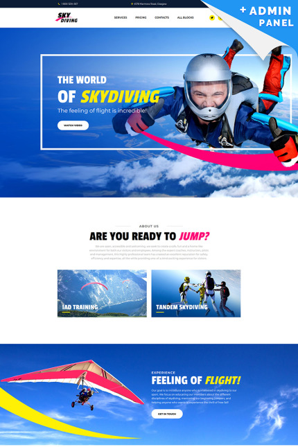 Skydiving Landing Page Template