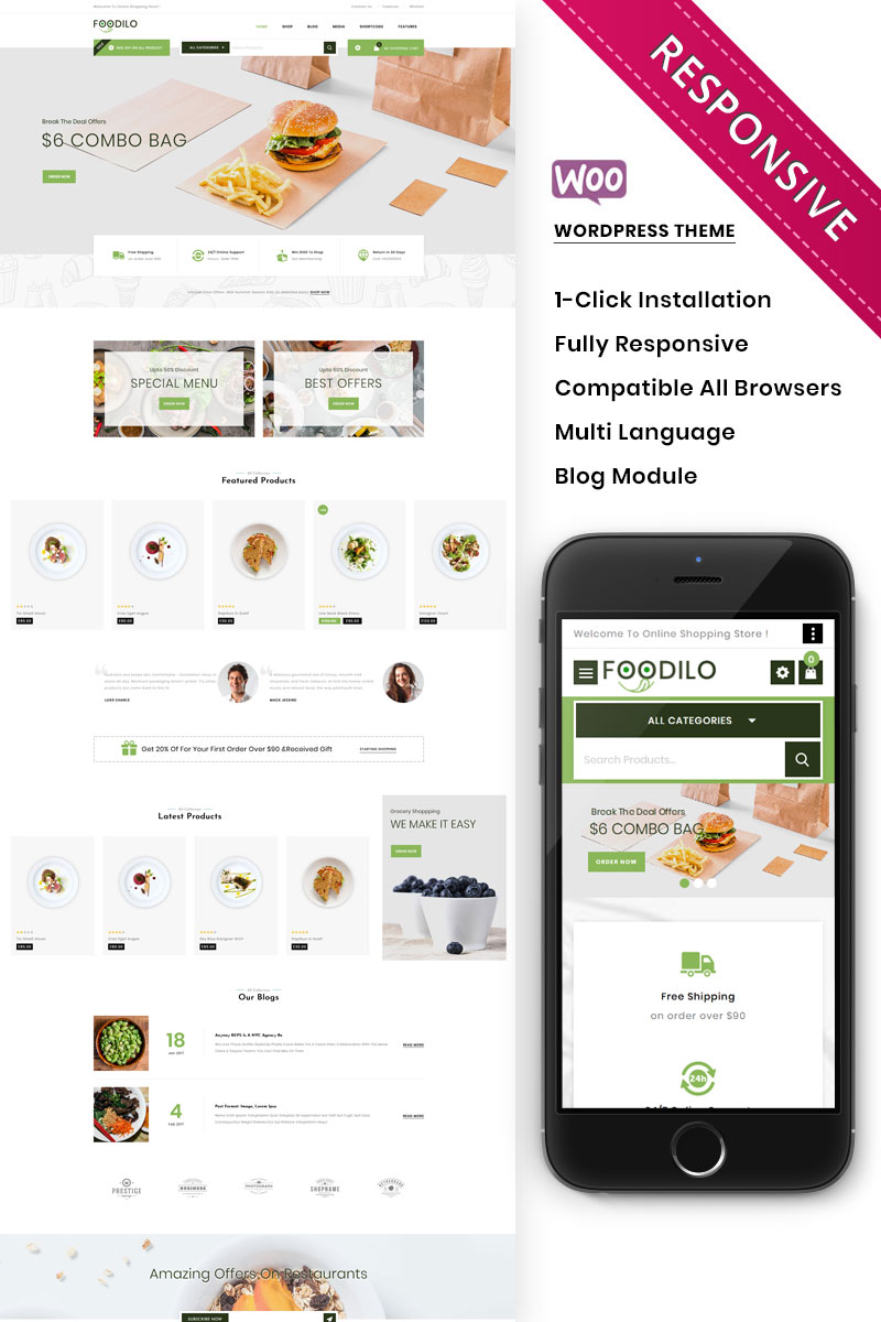Foodilo - The Fast Food & Restaurant Store WooCommerce Theme
