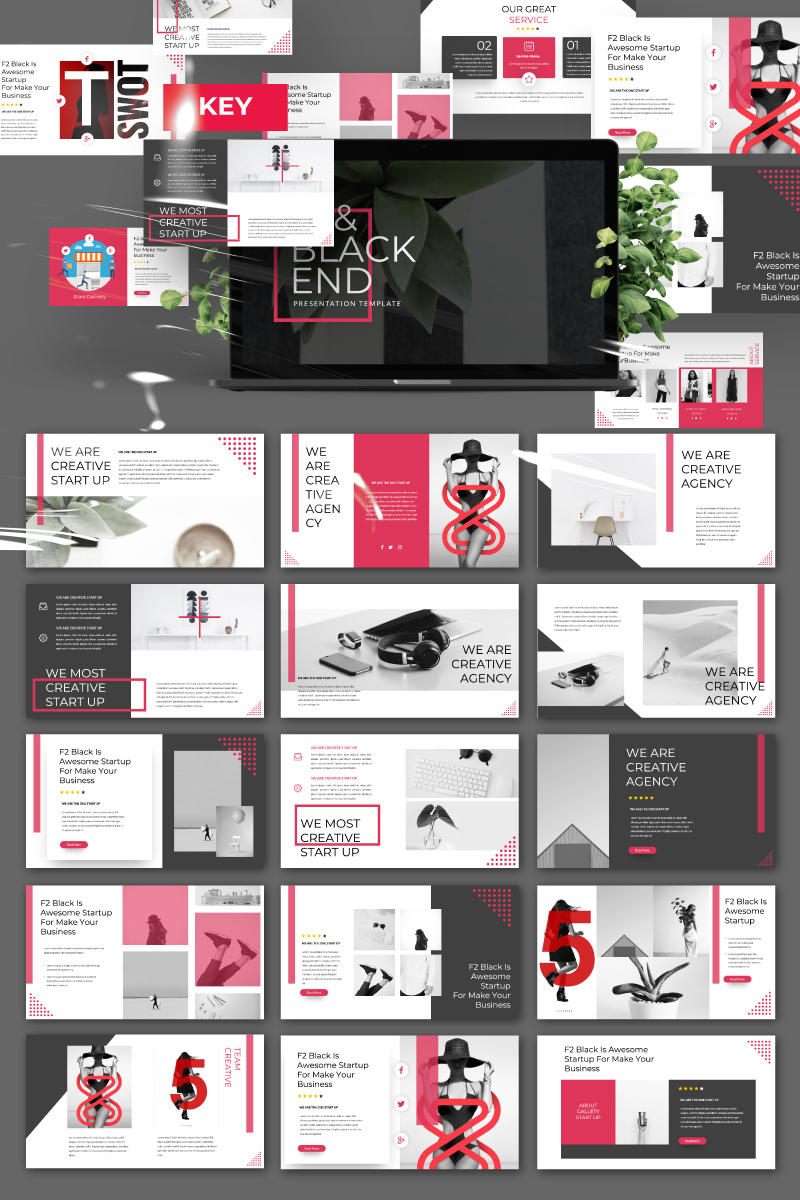 F2 Black Presentation PowerPoint Template