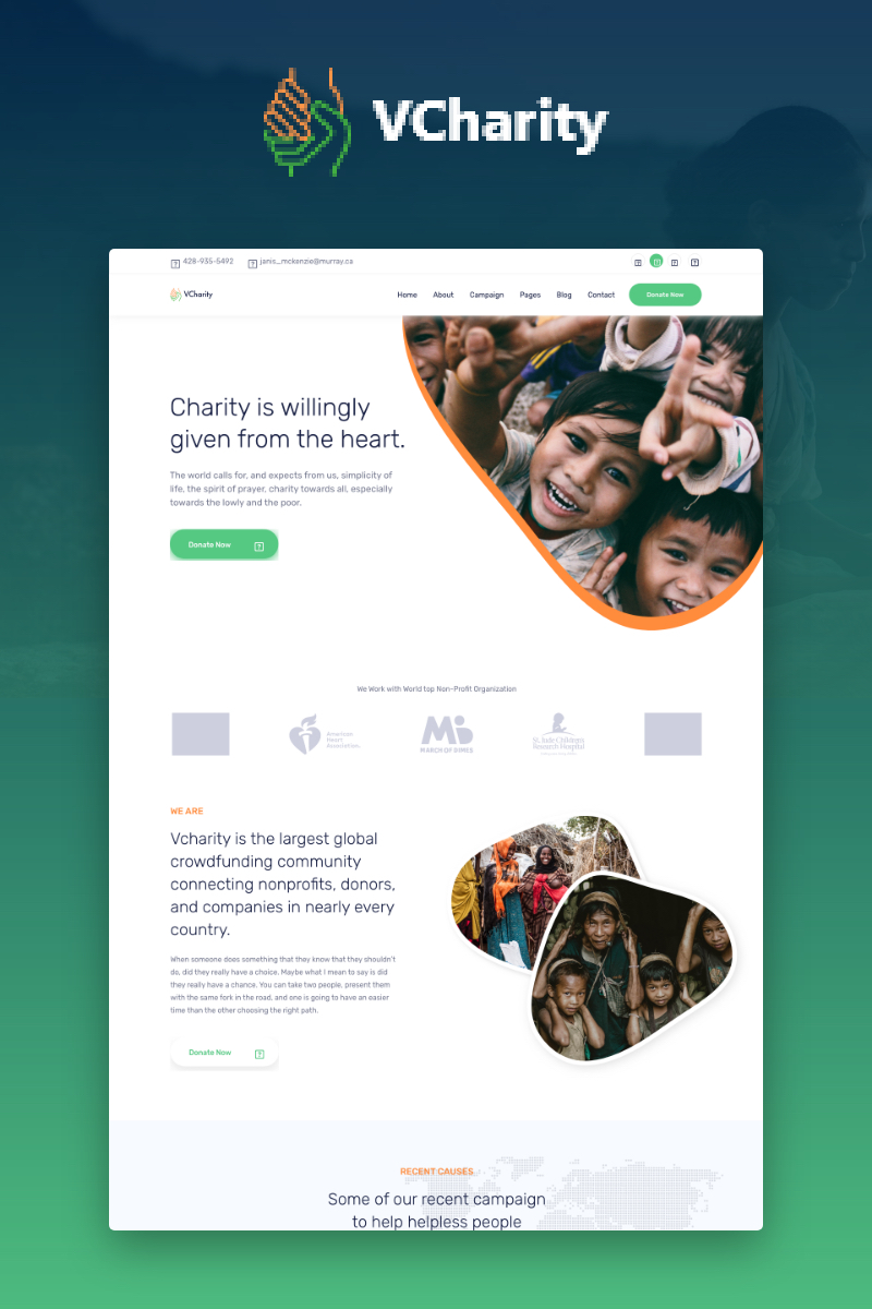vCharity - Charity and Donation Website Template