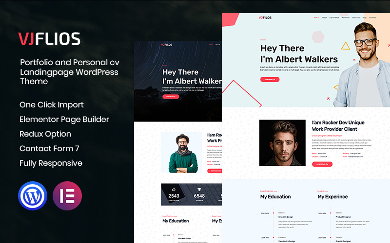 Vjflios - Portfolios and Personal CV Landingpage WordPress Theme