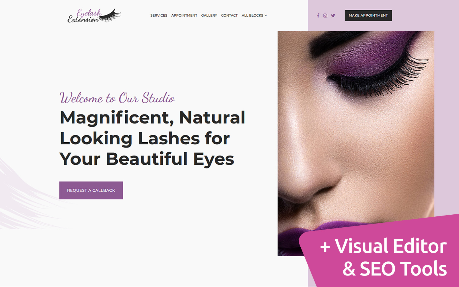 Eyelash Extension Landing Page Template