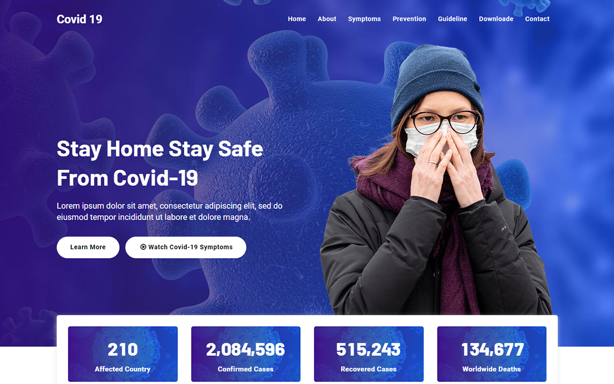 Covid 19 - Corona Virus Medical Landing Page Template