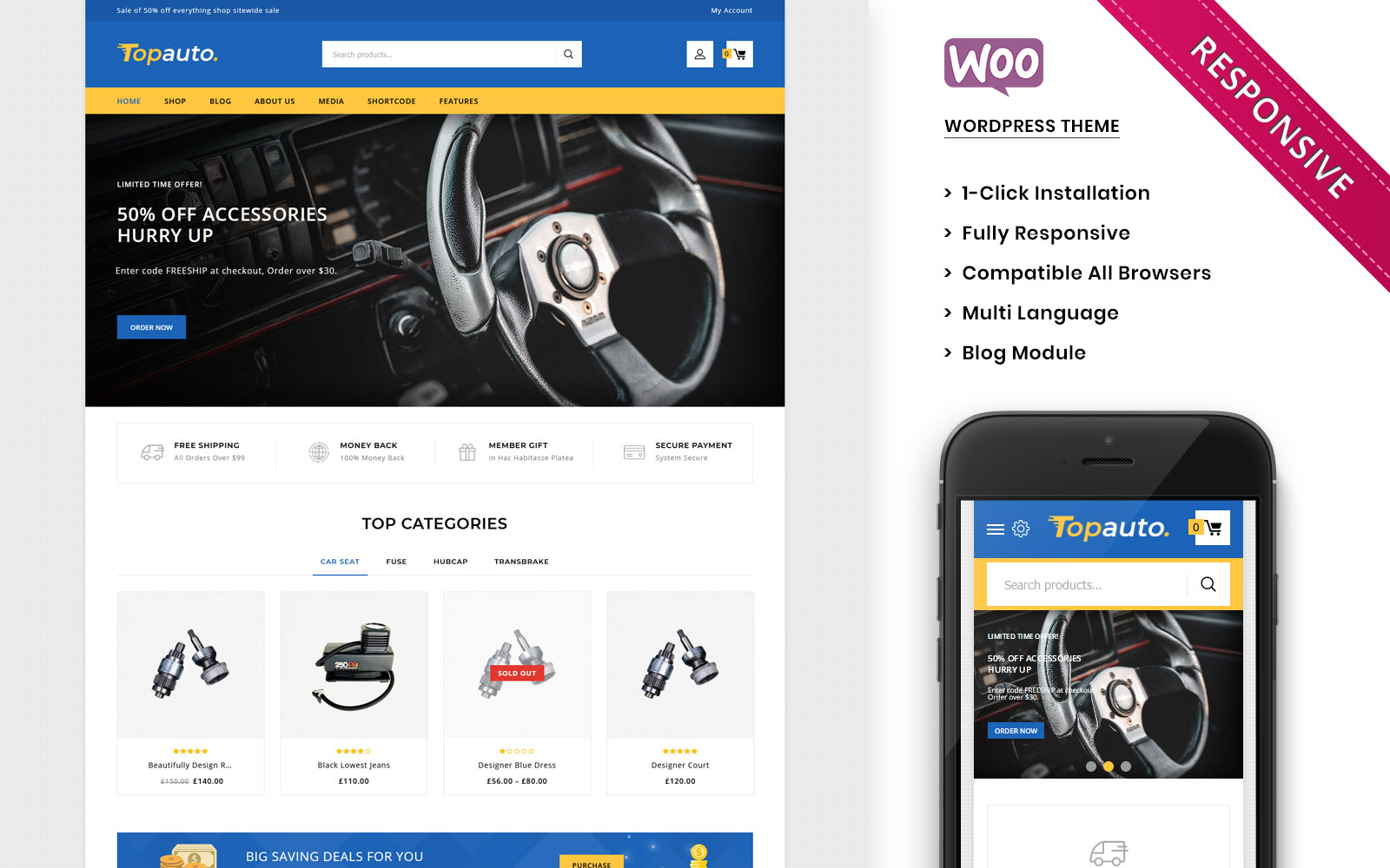 Topauto - The Autopart Responsive WooCommerce Theme