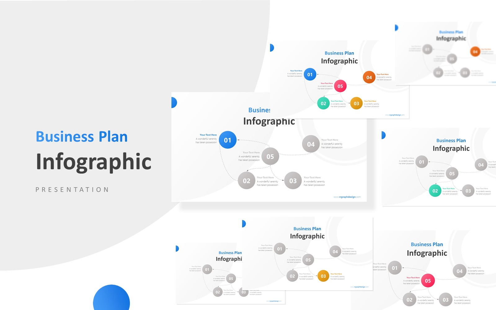 5 Circles Mind Map Infographic Presentation PowerPoint Template