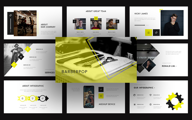 Barberpop Creative Business PowerPoint Template