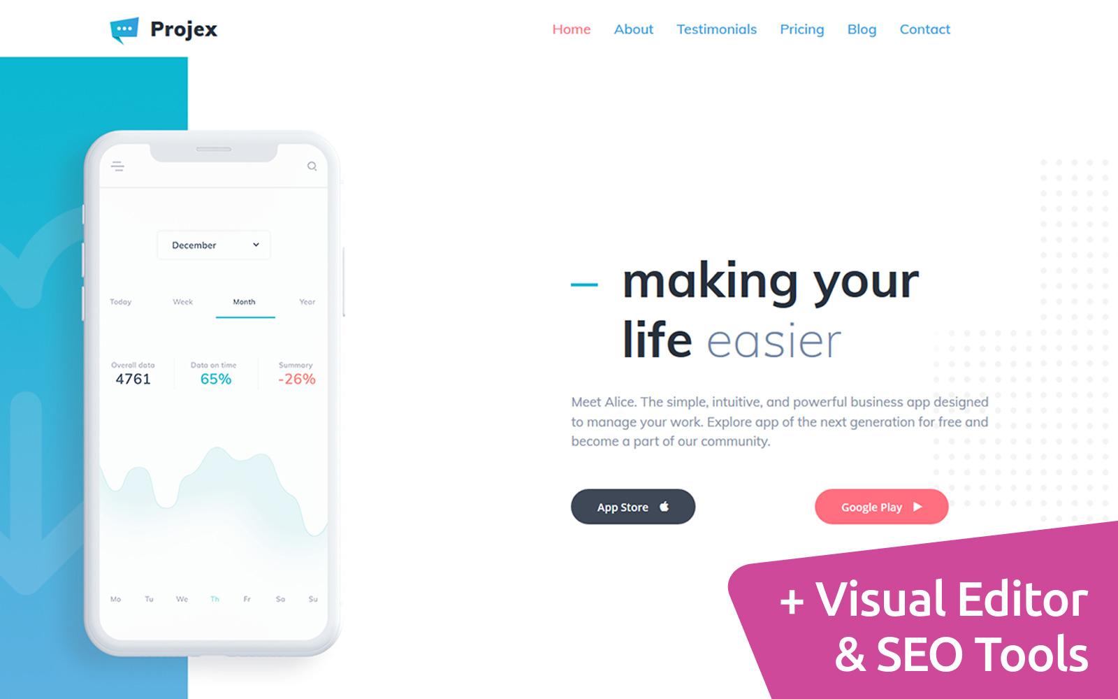 Projex - Business Mobile App Moto CMS 3 Template