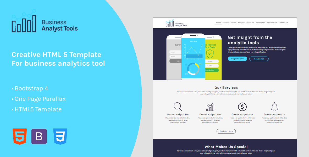 Business Analytic - Responsive HTML Landing Page Template