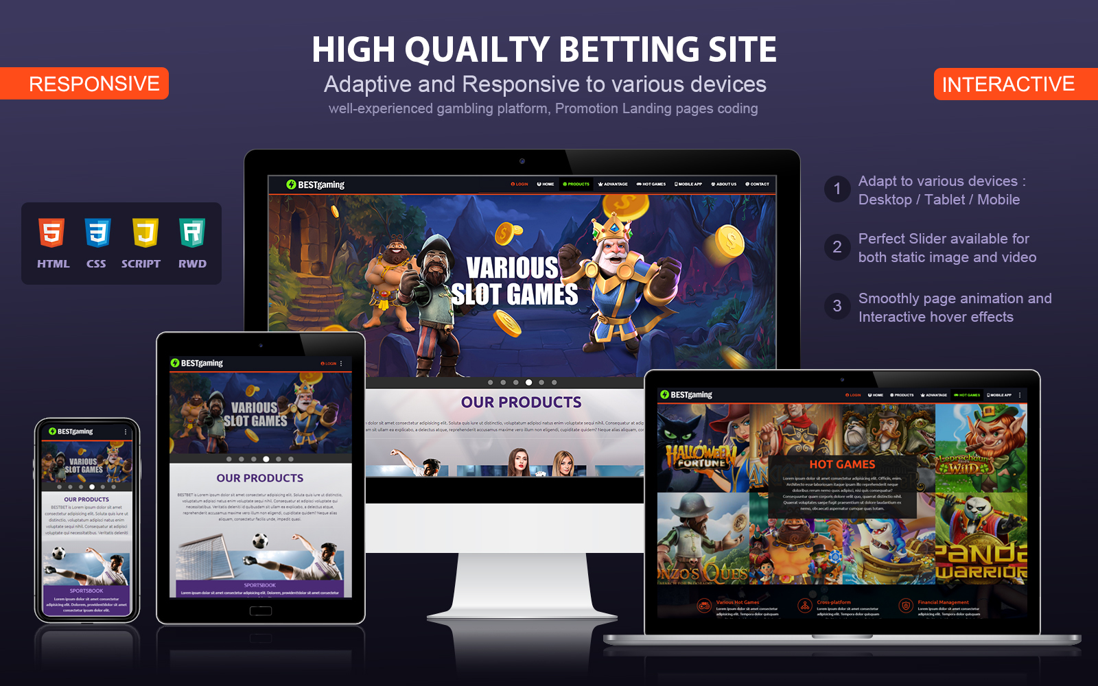 Responsive and Interactive Gambling Landing Page Template