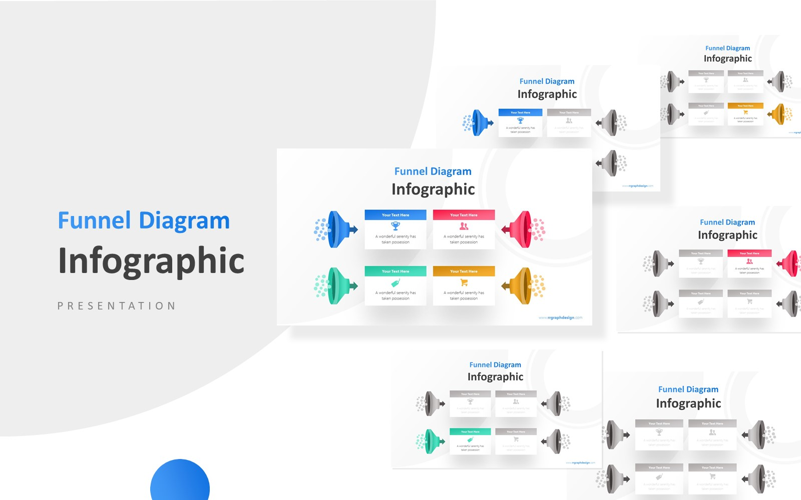 Four Stages with Funnel Graphics and Icons Infographic Presentation PowerPoint Template