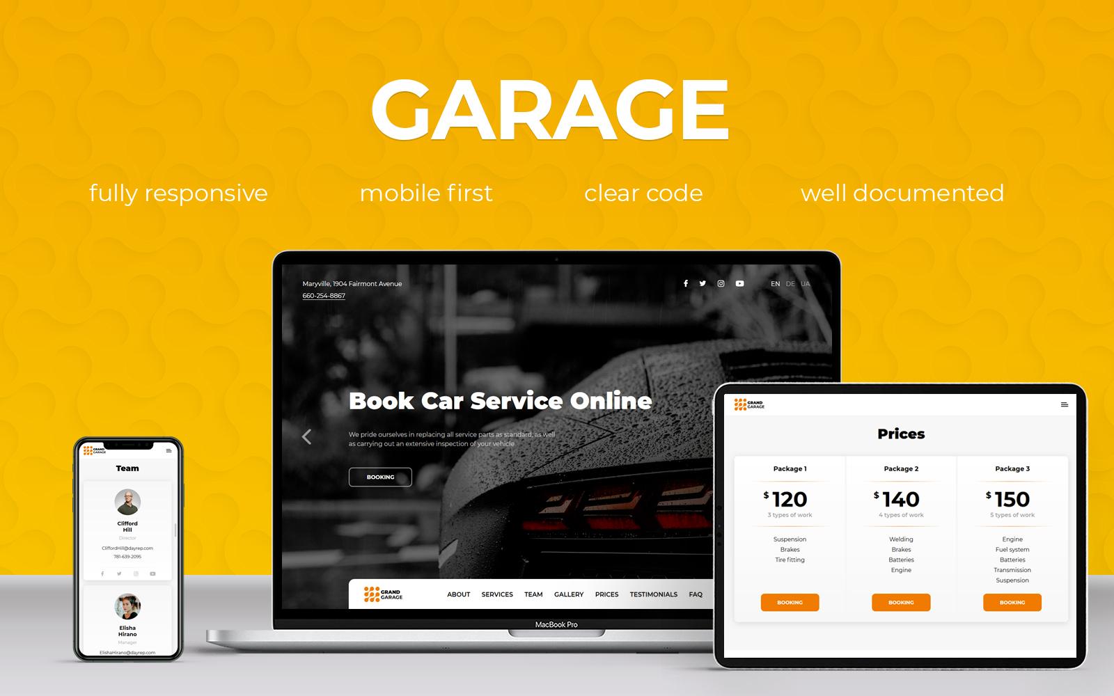 Garage Landing Page Template
