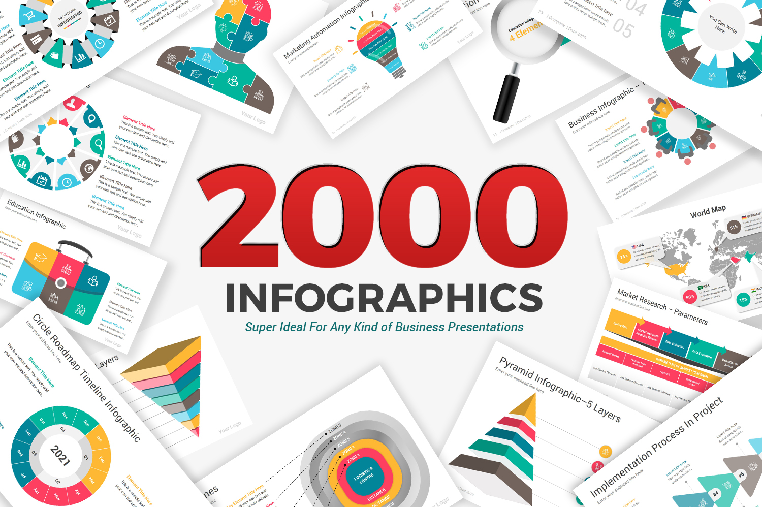 2000 Infographics Diagrams PowerPoint Template