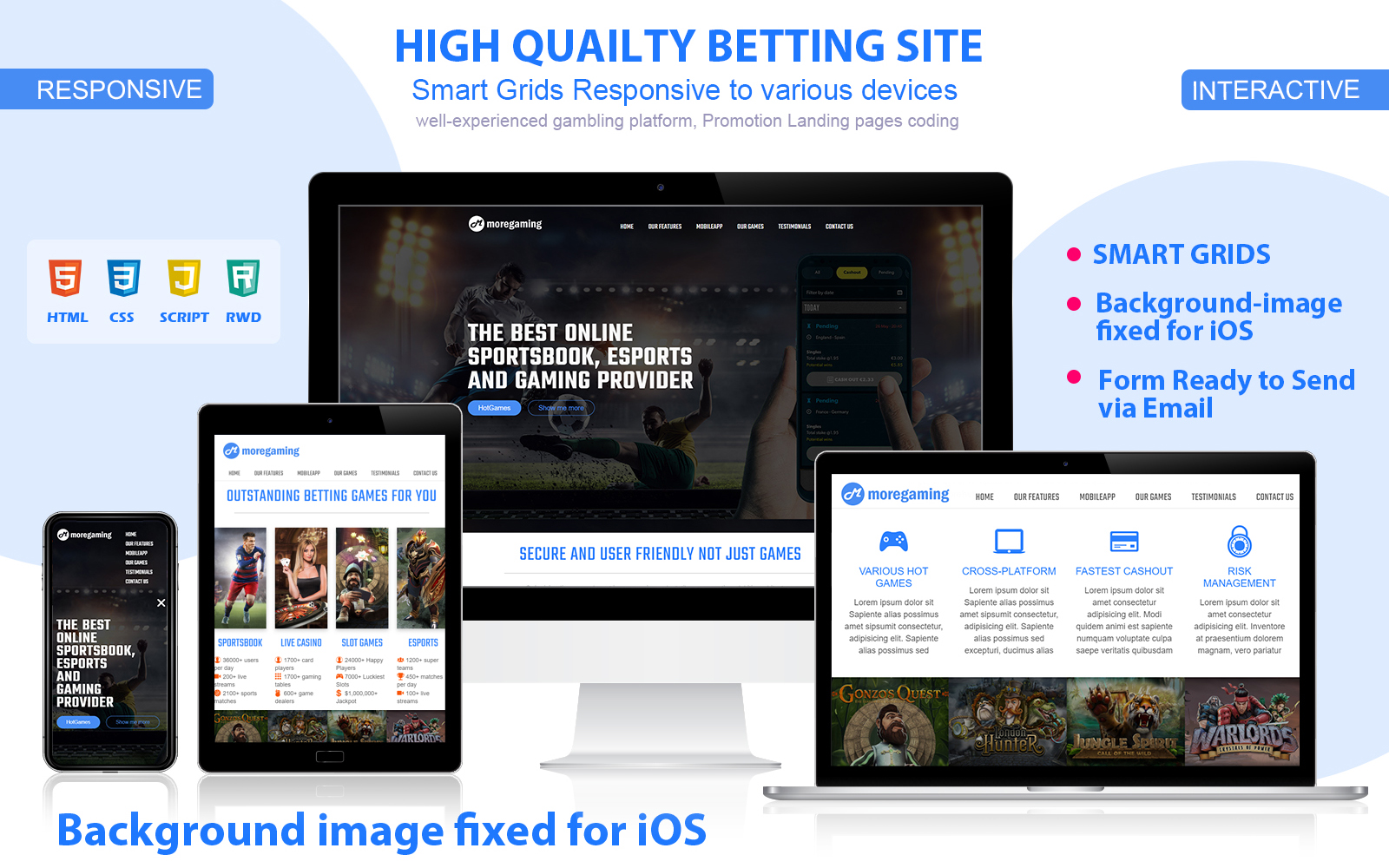 Smart Grids (RWD) Gambling Landing Page Template