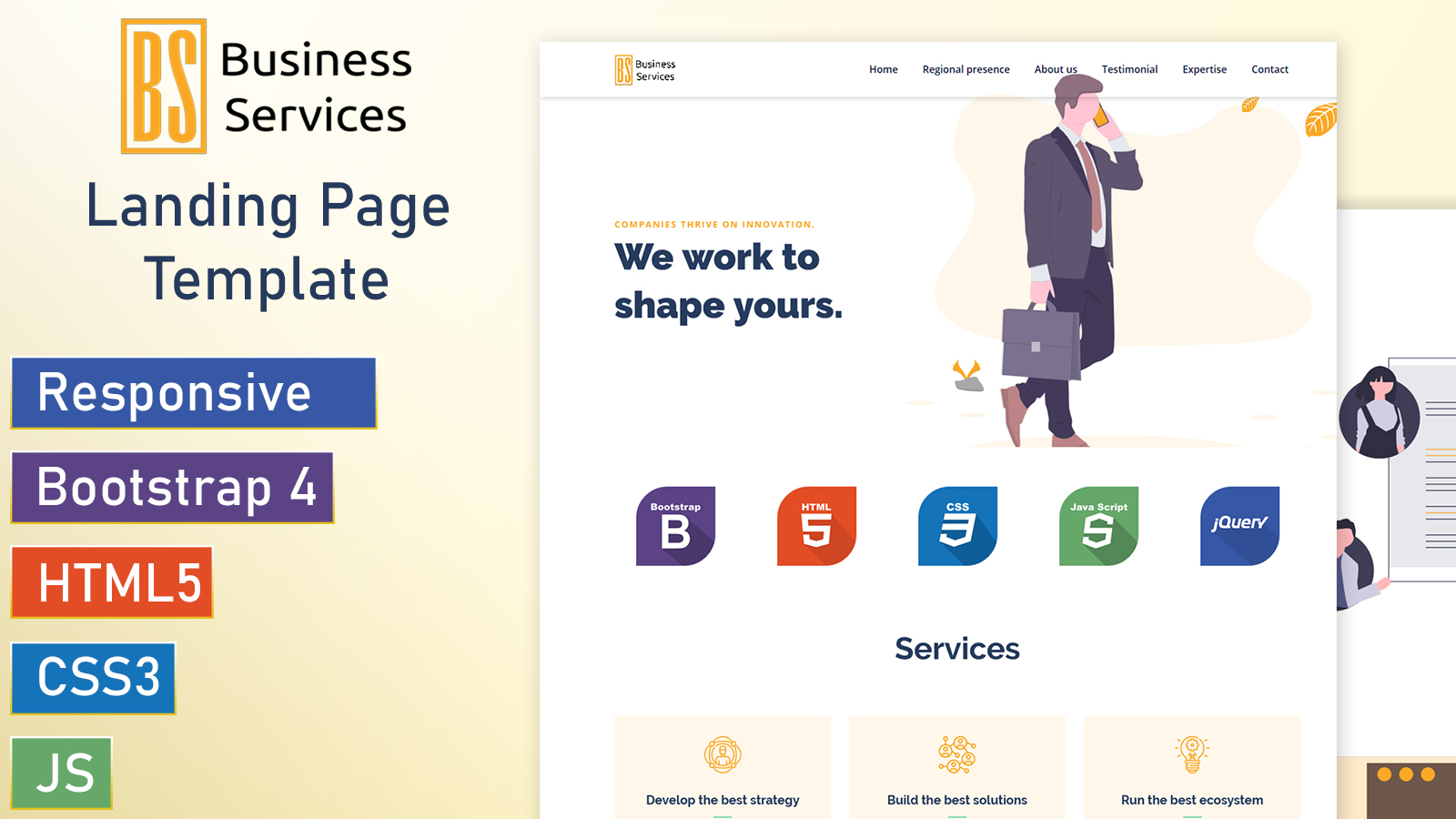BusinessService - Bootstrap 4 Landing Page Template