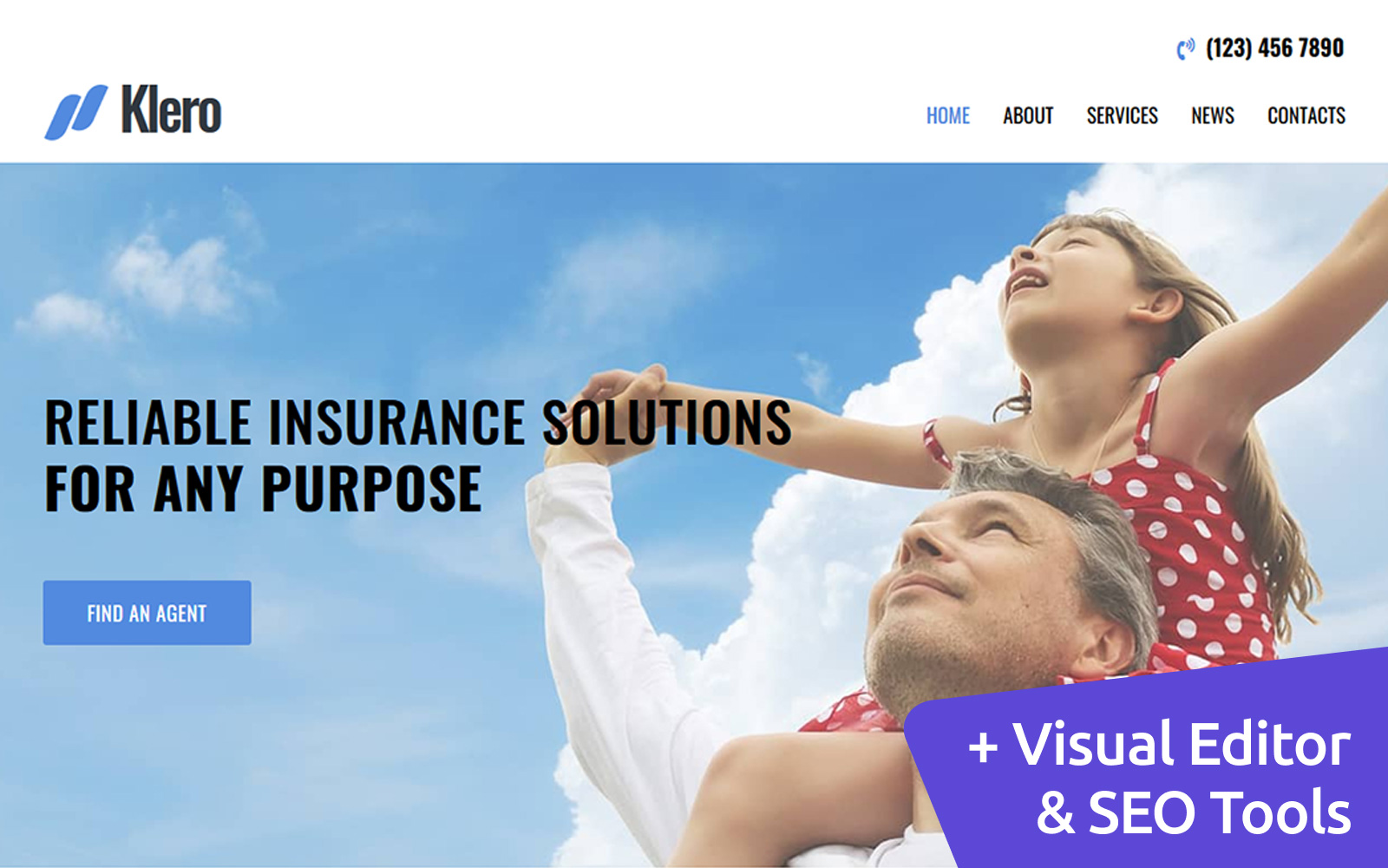 Klero - Insurance Services Moto CMS 3 Template