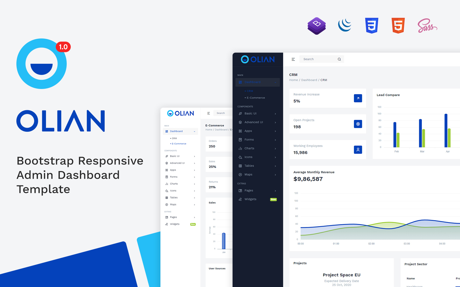 Olian - Bootstrap Minimal & Clean Admin Template