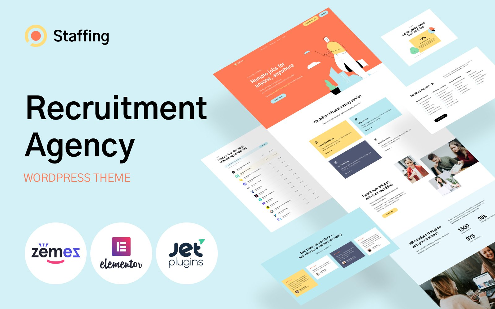 Staffing - Recruitment Agency Website Template WordPress Theme